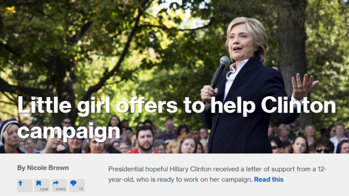 MSNBC.com Hypes 'Little Girl' Offering to Campaign for Hillary