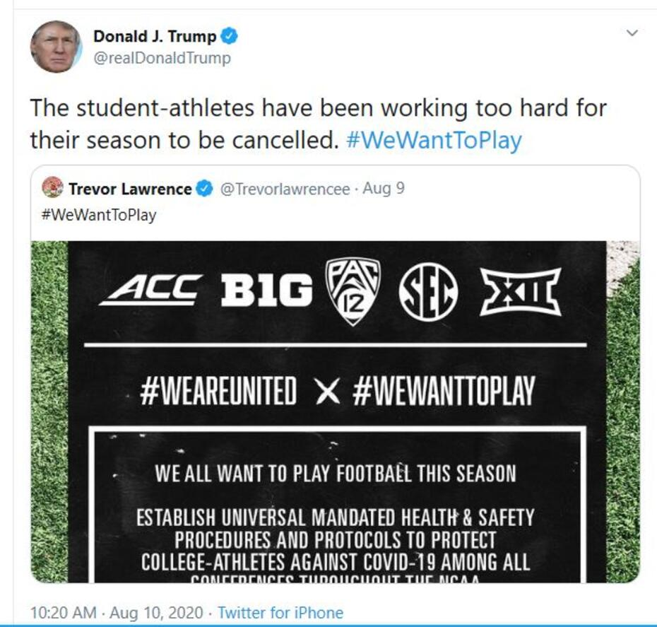 Trump's college football Tweet
