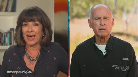 Amanpour Cues Jerry Brown to Bash Trump Over Portland, Election