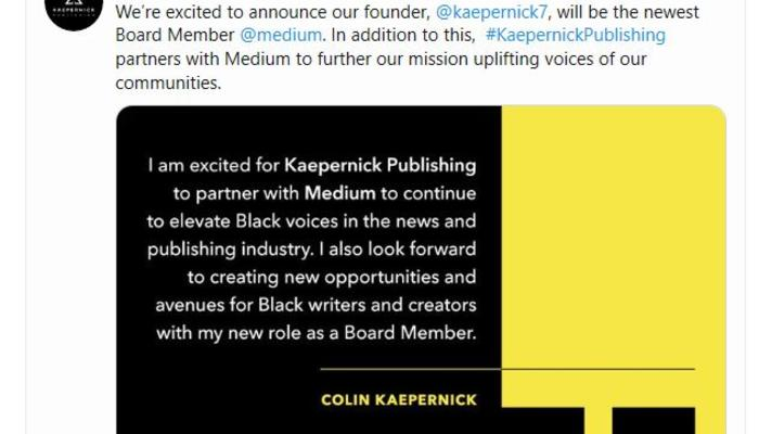 Kaepernick Publishing tweet