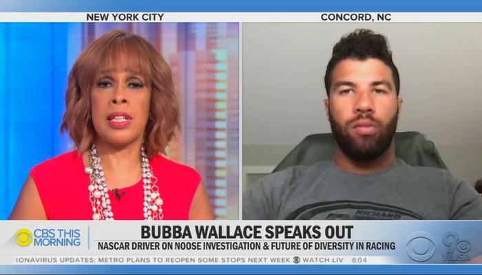Gayle King and Bubba Wallace