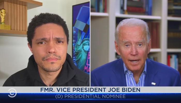 Trevor Noah and Joe Biden