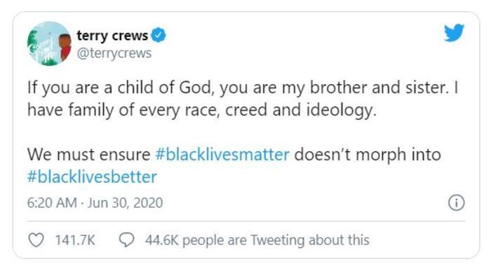 Crews tweet