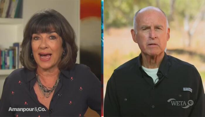 Christiane Amanpour and Jerry Brown