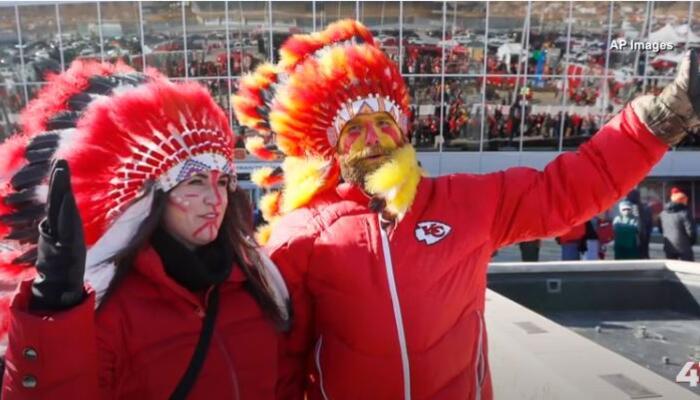 KC Chiefs fans wearing headdresses