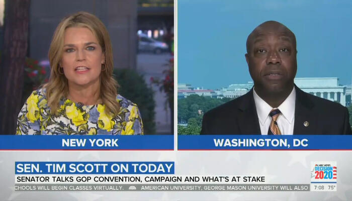 Savannah Guthrie and Tim Scott