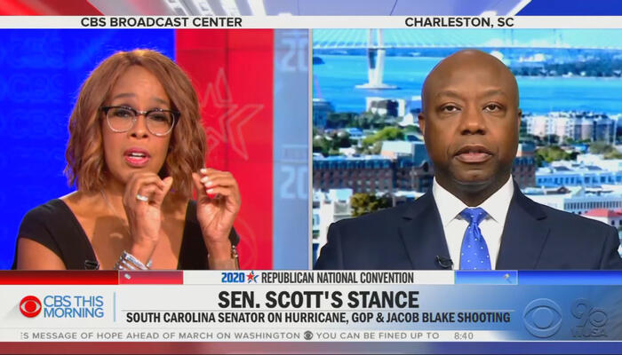 Gayle King and Tim Scott