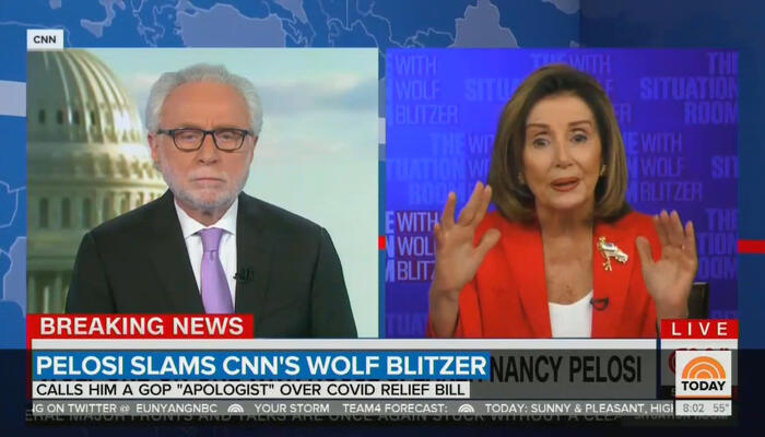 Wolf Blitzer and Nancy Pelosi