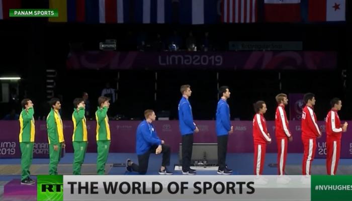American Race Imboden kneeling during 2018 Pan American Games