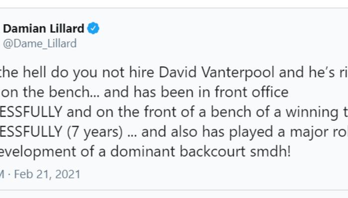 Damian Lillard tweet