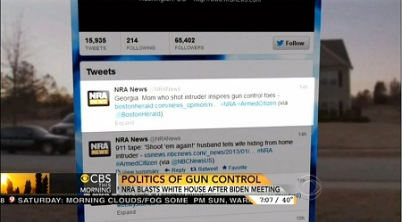 Screen Cap of Tweet From @NRANews, As Featured on the 11 January 2013 Edition of CBS This Morning | NewsBusters.org