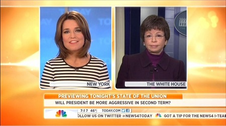Savannah Guthrie, NBC News Anchor; & Valerie Jarrett, Obama Senior Adviser; Screen Cap From 12 February 2013 Edition of NBC's Today | NewsBusters.org