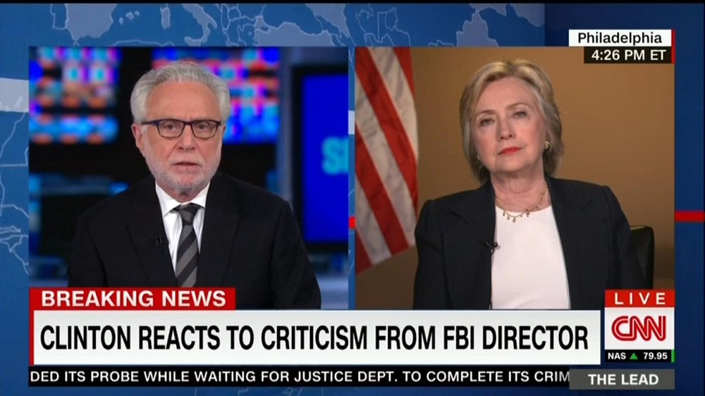 CNN World News Picture: CNN's Blitzer Presses Hillary On E-Mails; She Sticks To