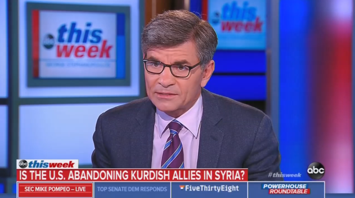 Stephanopoulos Grills Pompeo On Being a 'Party to Ethnic Cleansing'