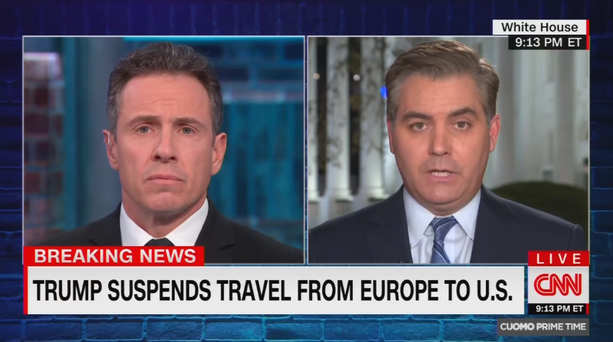 Acosta Declares Trump's Coronavirus Address Was 'Smacking of Xenophobia'
