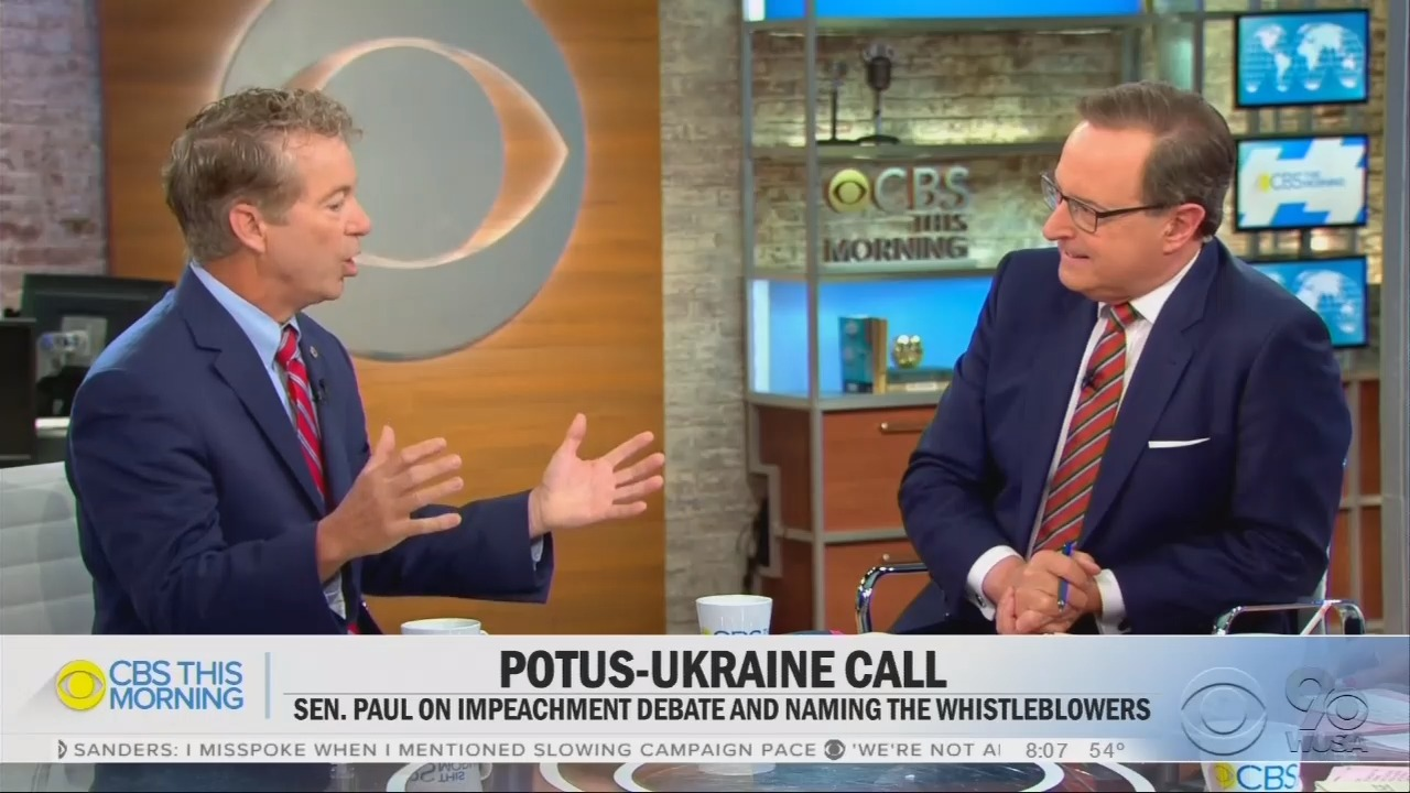 CBS Badgers Rand Paul to Get on the Impeachment Train