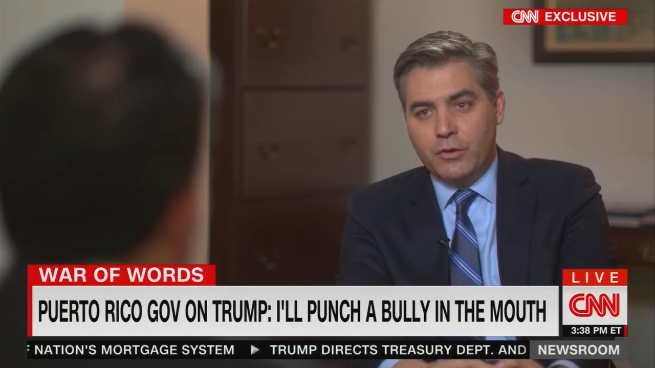 Jim Acosta Sets Up Puerto Rico Governor to Call Trump a 'Bully'