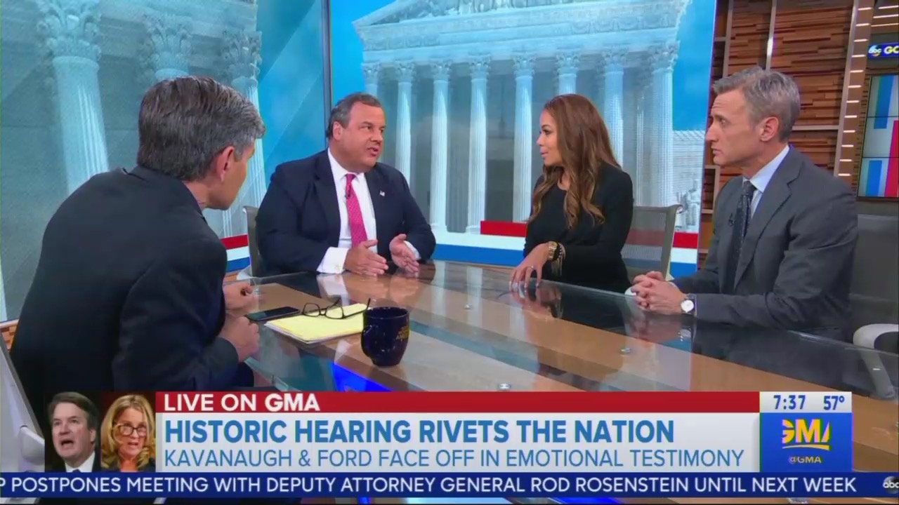 Chris Christie Snaps at Sunny Hostin Over Kavanaugh on GMA: 'Save That for The View!'