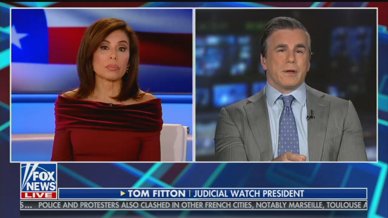 FNC's Pirro Highlights Media Blackout on Judicial Watch's Victory in Clinton E-Mail Investigation