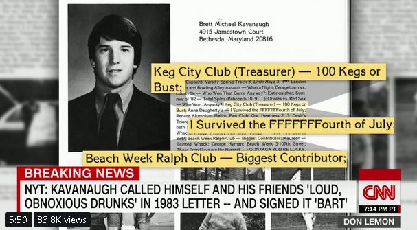 New York Times Still Trashing Kavanaugh:'Biggest Drinker in Our Class'