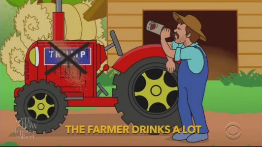 Hateful Colbert Cartoon Mocks Trump-Voting Farmers as Drunk Hicks