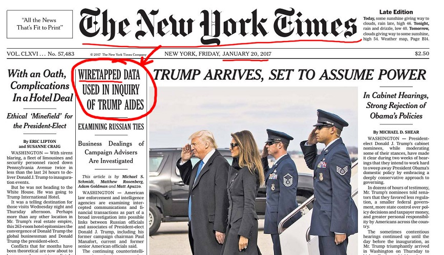 Francois Illas New Tradition: New York Times January Wiretapping Headline Goes Viral