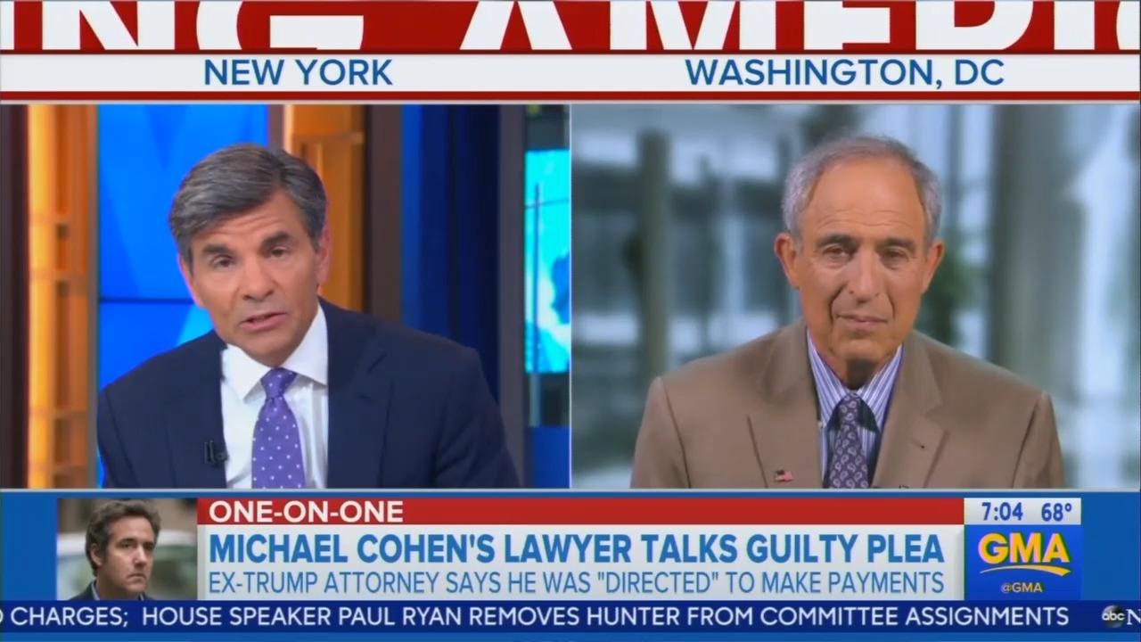 Clinton Pal George Stephanopoulos Talks to Clinton Pal Lanny Davis on Cohen