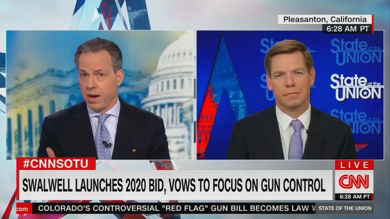 Yike: CNN's Jake Tapper Pins Down Swalwell on Jailing 'Assault Weapon' Owners