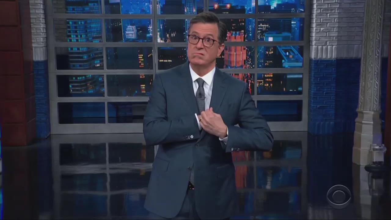 Crude Colbert Cheers Pelosi Taking Sinclair Reporter's 'Balls'