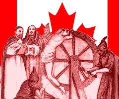 Inquisition, Canadian style. Illustration.