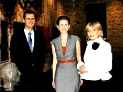 Barbara Walters with Bashar al-Assad and wife as shown on July 7, 2008