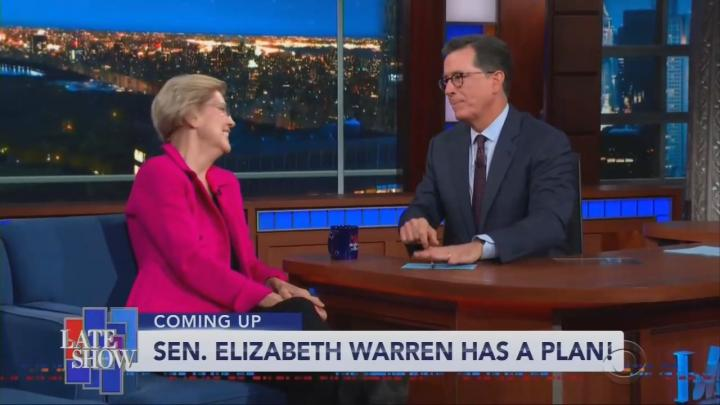 Colbert Offers Political Advice to Elizabeth Warren on Medicare for All Plan