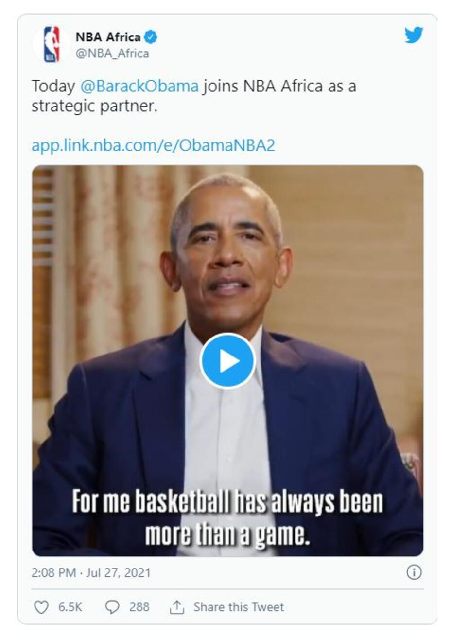 Obama tweet on NBA Africa