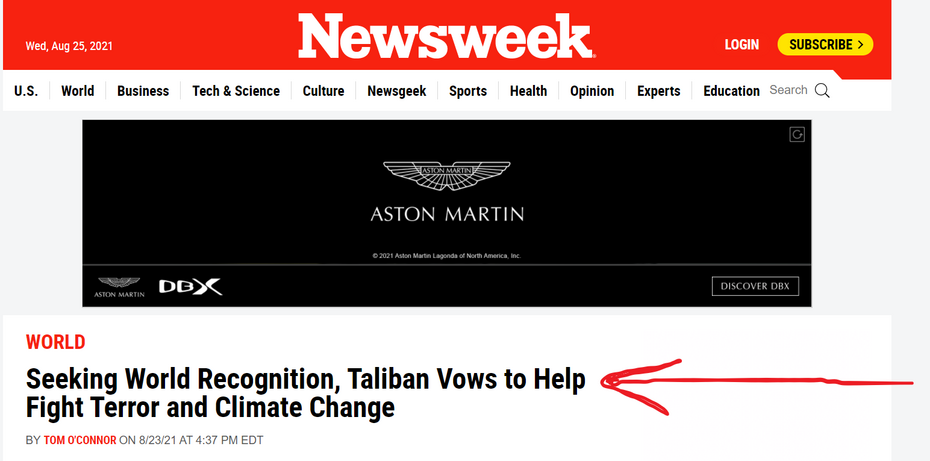 Newsweek Headline Celebrates Taliban Vow to 'Fight Terror and Climate Change' & Seek 'World Recognition'