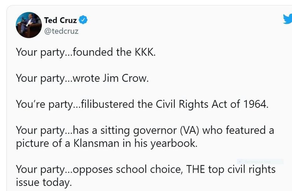 Cruz tweet on Dems and KKK
