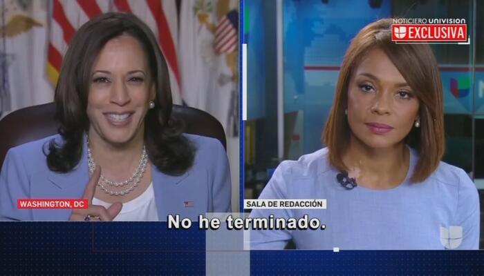 "OOF: Kamala Harris Hits Univision Anchor With ""I'm Not Finished"""