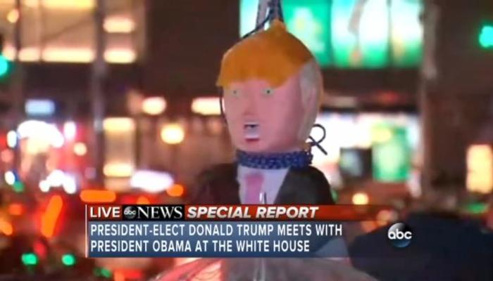ABC News Special Report on Obama-Trump Meeting Touts Video of Trump Pinata on a NooseMRC Merch