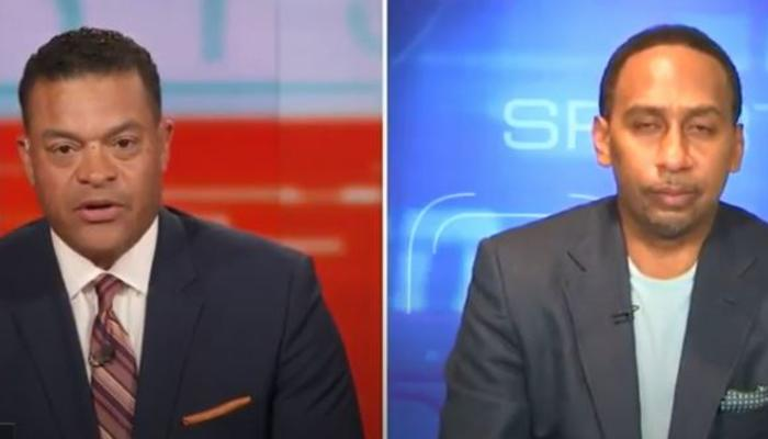 Michael Eaves, left, Stephen A. Smith, right