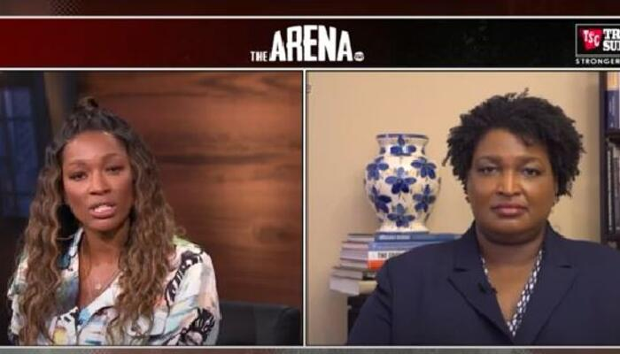 Cari Champion, left, and Stacey Abrams