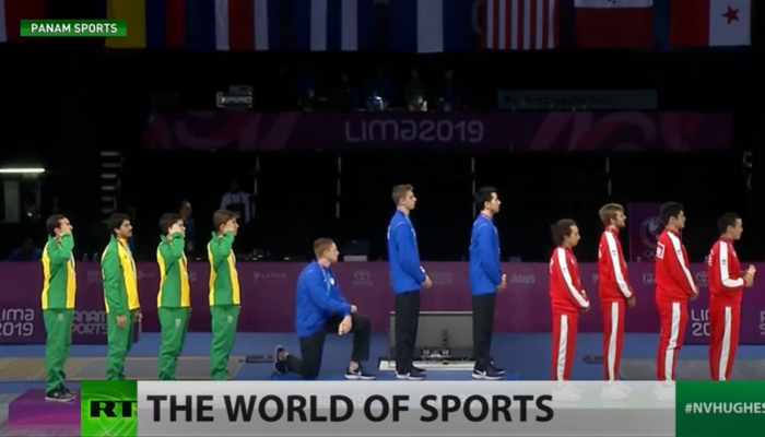 American Race Imboden kneeling during 2018 Pan American Games