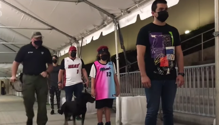 Miami Heat niffing dogs