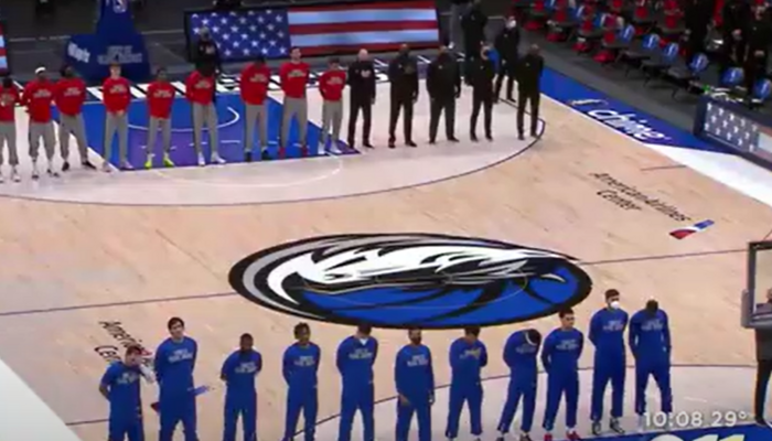 Mavericks stand for national anthem